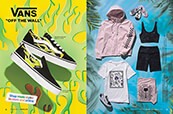 Vans spring looks, featuring shorts, tees, and more, pluse the Slime Flame shoes collection.