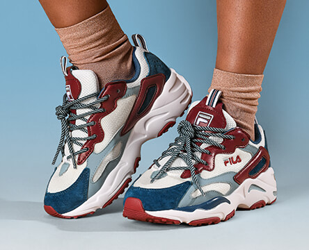 Women's footwear, featuring the new FILA Ray, along with styles from Vans and other top brands.