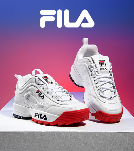 Women's shoes featuring the Fila Disruptor in red, white, and blue.