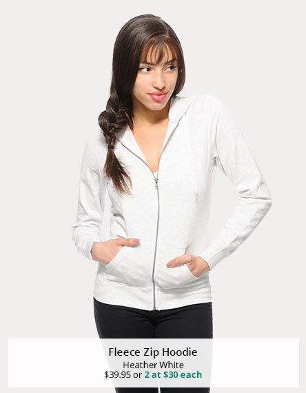 Heather White Fleece Zip Hoodie