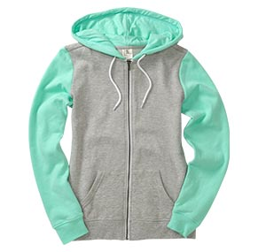 Heather Grey/Aruba Blue Fleece Zip Hoodie