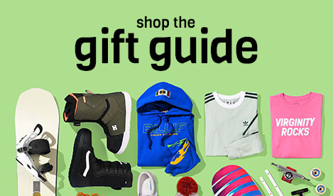 Click for holiday gifts, featuring styles for men & women along with shoes, skate and snow pieces.