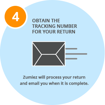 Obtain the tracking number for your return