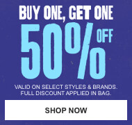 Buy 1 item and get 50% off a second item of equal or lesser value. Discounts limited to select styles and brands. Full discount applied in bag. Shop now.