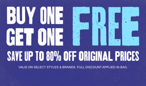 Buy 1 item and get a 2nd item of equal or lesser value for free on select styles and brands. Save up to 80% off original prices. Full discount applied in bag. Shop now.