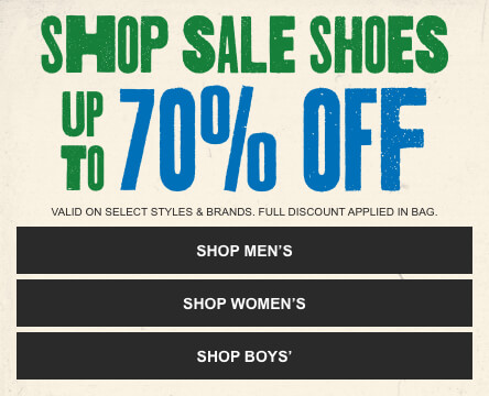 Shop Sale shoes in men's, women's and youth sizes from top brands like Vans, adidas and more. *Valid on select styles and brands. Full discount applied in bag.