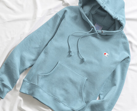 Get a new hoodie, featuring the cornflower blue reverse weave style from Champion.