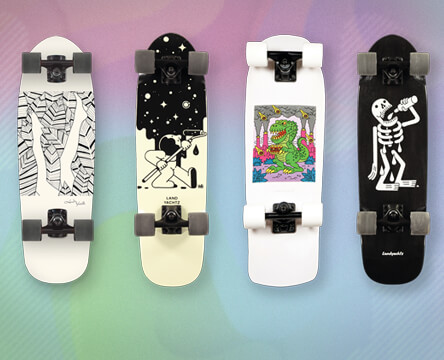 Skateboard cruisers featuring multiples styles from Landyachtz.