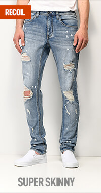 Low rise Empyre Recoil jeans with a super skinny fit through the entire length of the leg