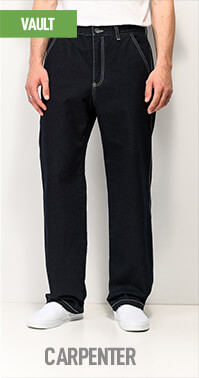 Workwear inspired fit - the Empyre Vault jeans have a longer drop crotch and wide leg silhouette