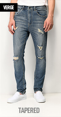 Drop crotch Empyre Verge jeans with a relaxed thigh that tapers down to a narrow leg opening