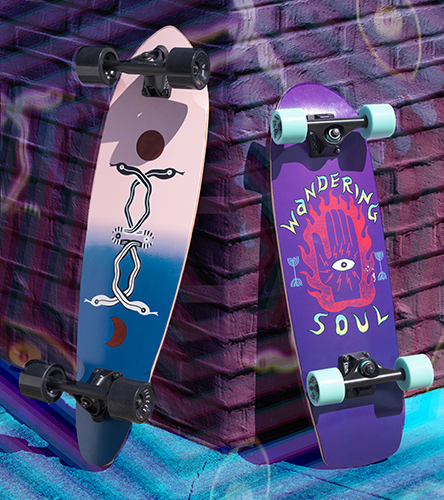 Cruiser complete skateboards featuring pre-built boards from Mercer Skateboards.
