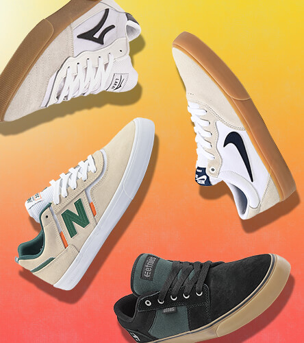 Skate shoes featuring top brands like Lakai, Nike, Etnies, New Balance and more.