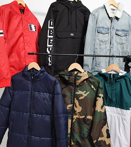 Men's windbreakers, anoraks, puffers and denim jackets.