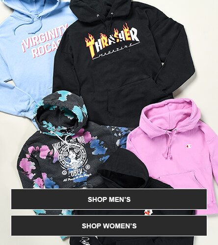 Hoodies for men, women, and kids from top brands like thrasher, obey, primitive and more