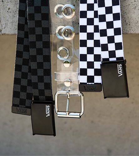 Keep your pants up in style with web belts from Vans, clear belts, and other trendy styles.