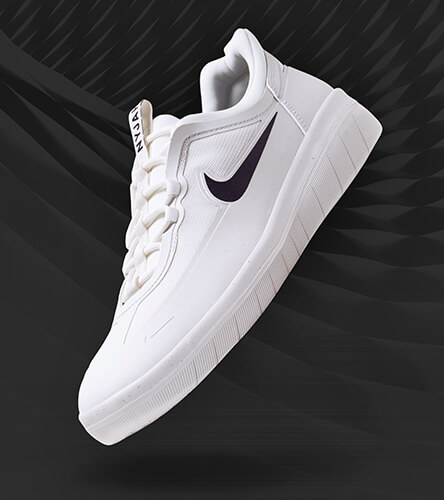 Nike shoes and apparel featuring the Nyjah Free 2.0 skate shoes in white.