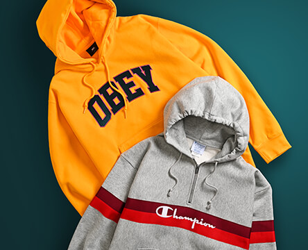 Shop all men's hoodies featuring Odd Future, Obey and Champion