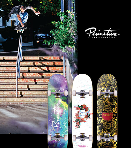 Shop all skate products including decks, trucks, wheels, completes, and more featuring Primitive skateboards.