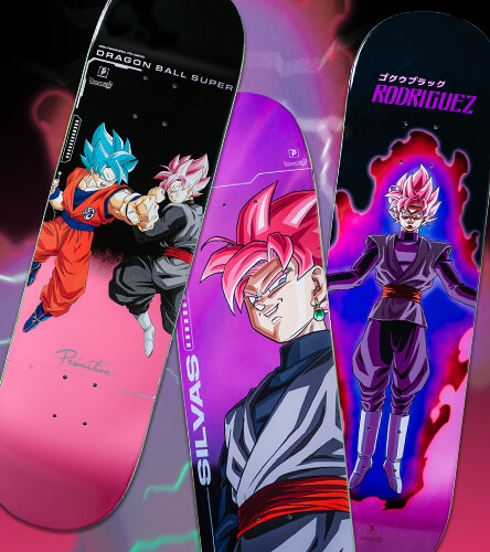 Skate decks featuring the Primitive and Dragon Ball Super collection of skateboard decks.