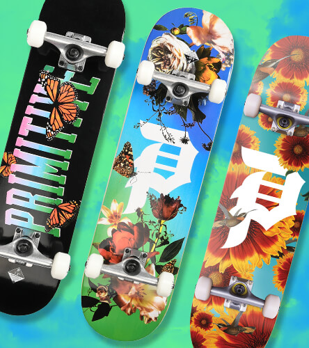 Complete skateboards featuring boards from Primitive are pre-assembled and ready to ride.