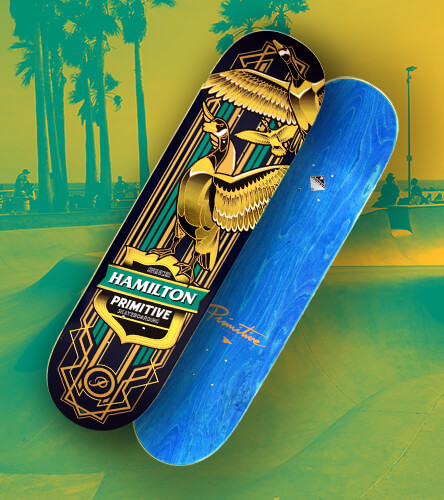 Skateboard decks featuring the Spencer Hamilton gold duck skateboard board from Primitive.