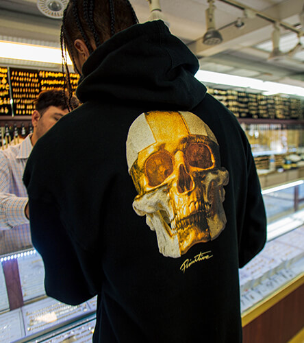 Hooded sweatshirts for men featuring the black and gold hoodie from Primitive.