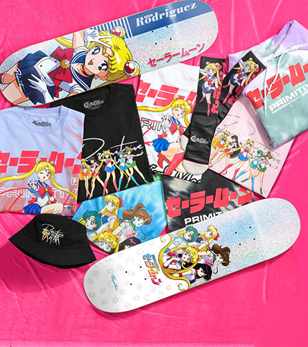 Shop the new Primitive x Sailor Moon collection, featuring skate decks, apparel and accessories.