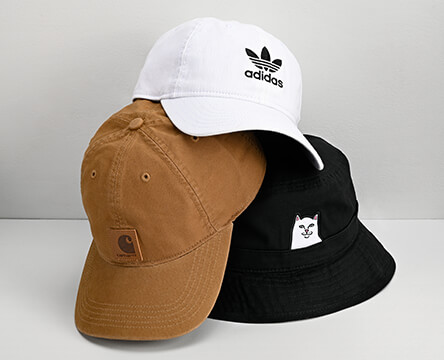 Shop all hats featuring different styles from Carhartt, adidas and RIPNDIP