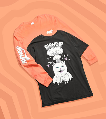 Men's t-shirts featuring RipNDip with orange and red short or long sleeve tees.