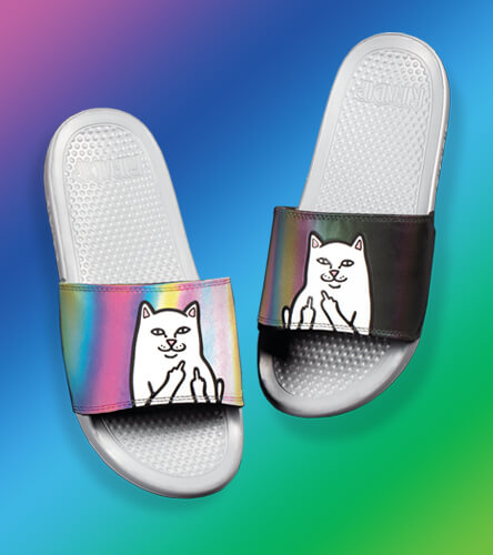 Sandals and Slides featuring RIPNDIP Reflective Slides
