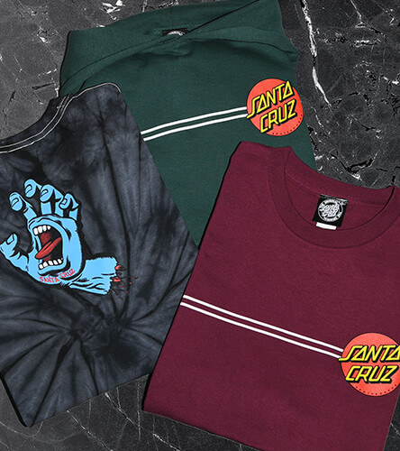 Santa Cruz skateboards and apparel for boys including the classic dot logo.