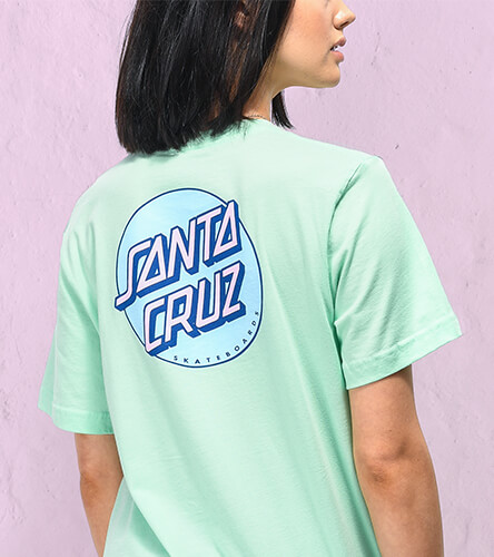 Shop tops and tee shirts for women, featuring new styles from Santa Cruz.