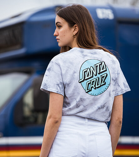 Shop tees for women, featuring tie dyed styles from Santa Cruz and more top brands.
