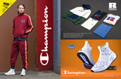 Champion clothing and shoes for men, along with Russel Athletic sweatshirts and t-shirts.