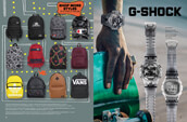 Shop G-Shock watches and a selection of backpacks from Nike SB, Lurking Class by Sketchy Tank, Vans, and other brands too.
