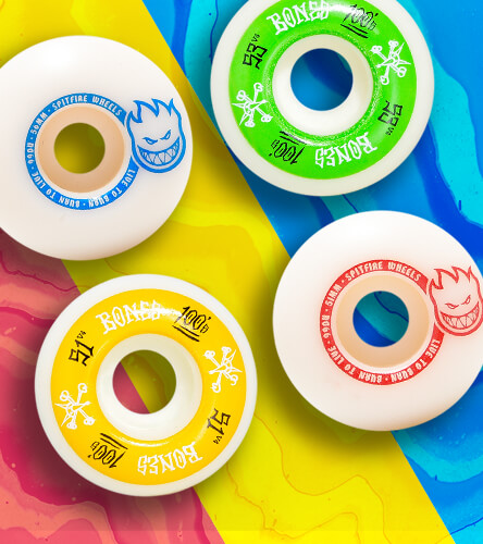 Skateboard wheels in tons of sizes and shapes featuring Bones and Spitfire skate wheels.