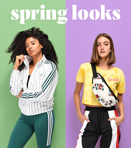 Women's outfit inspiration with looks featuring Spring styles from Champion, Santa Cruz, Vans and other great brands.