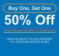 Buy 1 item and get 50% off a second item of equal or lesser value. Discounts limited to select styles and brands. Full discount applied in bag.
