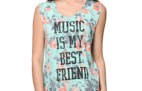 Starling Music Best Friend Mint Floral Print Muscle Tee Shirt