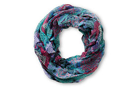 D&Y Purple Floral & Feather Print Infinity Scarf