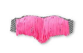 Damsel Nova Ikat & Pink Fringe Bandeau Bikini Top