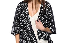 Lunachix Black & White Tribal Print Kimono