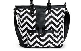 Empyre Nunya Black, White & Coral Chevron Print Tote Bag