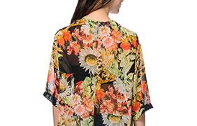 See You Monday Floral Print Kimono
