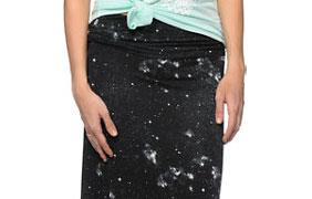 Empyre Shayla Black Galaxy Print Maxi Skirt