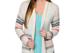 Empyre Basmati Cream & Tribal Print Cardigan Sweater