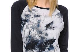 Trillium Briana Black & White Tie Dye Baseball Tee Shirt