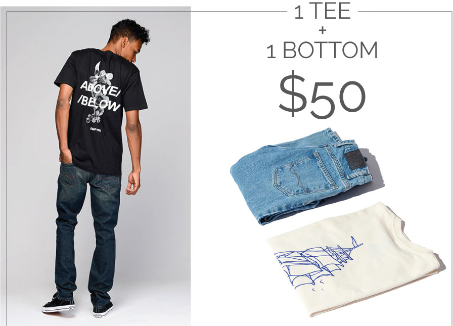 1 Tee + 1 Bottom for $50