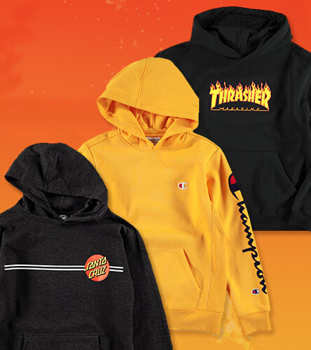 Boys' Hooded sweatshirt featuring hoodies from Thrasher, Santa Cruz, and Champion.